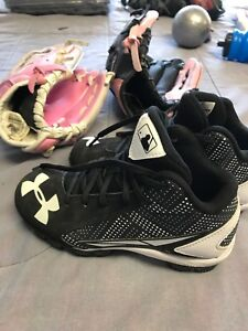 Kids baseball cleats size 13k and 2 ball gloves