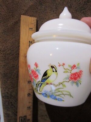 Vintage  Milk Glass Bird Floral Covered Candy Dish Marked Avon  BEAUTIFUL!!!!!!!