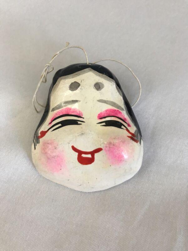 Vintage Paper Mache Asian Mini Geisha Mask Christmas Ornament RARE