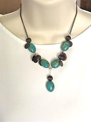 Gemstone Mosaic Turquoise Pendant CHOKER Necklace Chakra Fengshui USA