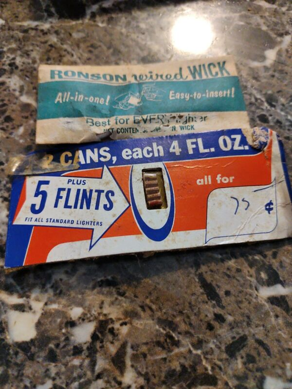VINTAGE - Ronson Wired Wick - Never Used - In Original Package Plus 5 Flints