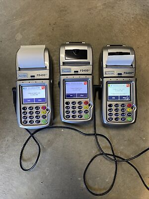 3 First Data Fd-400gt Wireless Terminal Credit Card Machines With 2 Power Cords