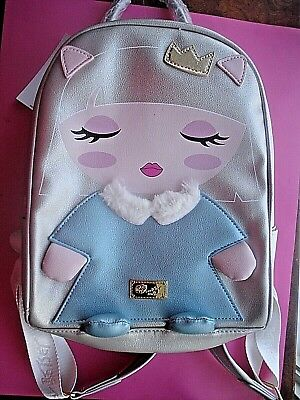 BETSEY JOHNSON PRINCESS BACKPACK FAUX FUR GOLD CROWN NEW ()