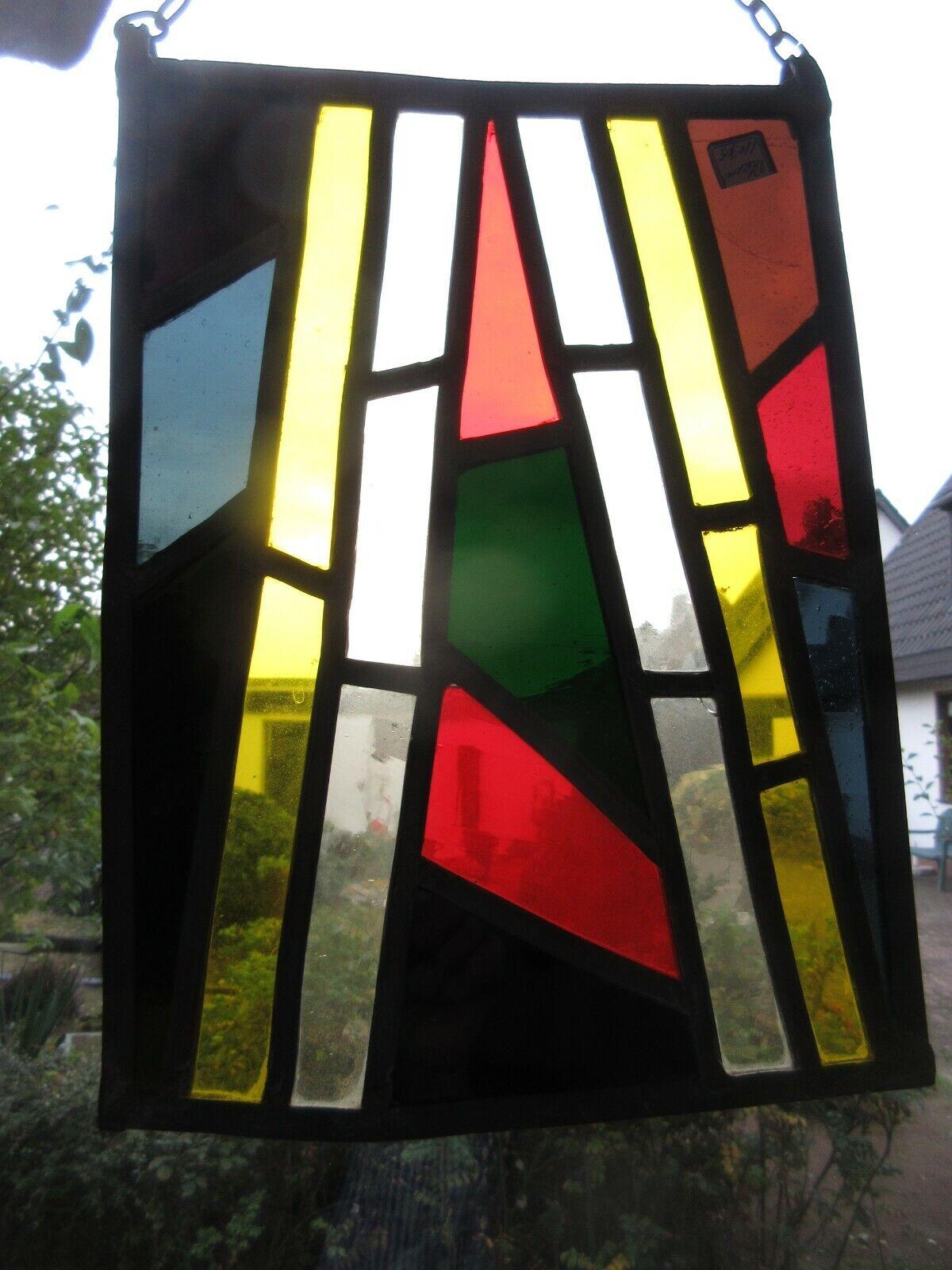 Antike Bleiverglasung, Fensterbild, Glasmalerei, Sichtschutz 30x 22
