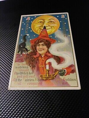 EARLY 1900s HAPPY HALLOWEEN PRESSED POST CARD, PRETTY WITCH, BLACL CAT, MOON ()