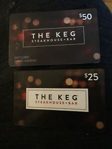 75$ The Keg steakhouse and bar gift card