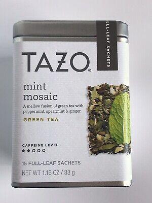 Tazo Mint Mosaic Green Tea Tin 15 Full Leaf Sachets Best By 6/2020