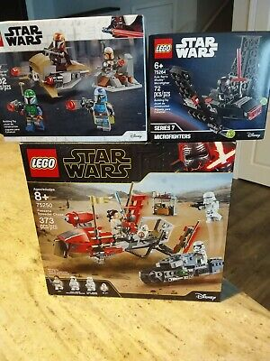 Lego Star Wars Lot 75250,75267,75264 Kylo Microfighter,Mandalorian,Pasaana Chase
