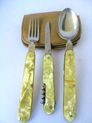 WWII Vtg ANTIQUE BOY SCOUT UTENSIL KIT MESS FOLDING KNIFE FORK SPOON/yellow