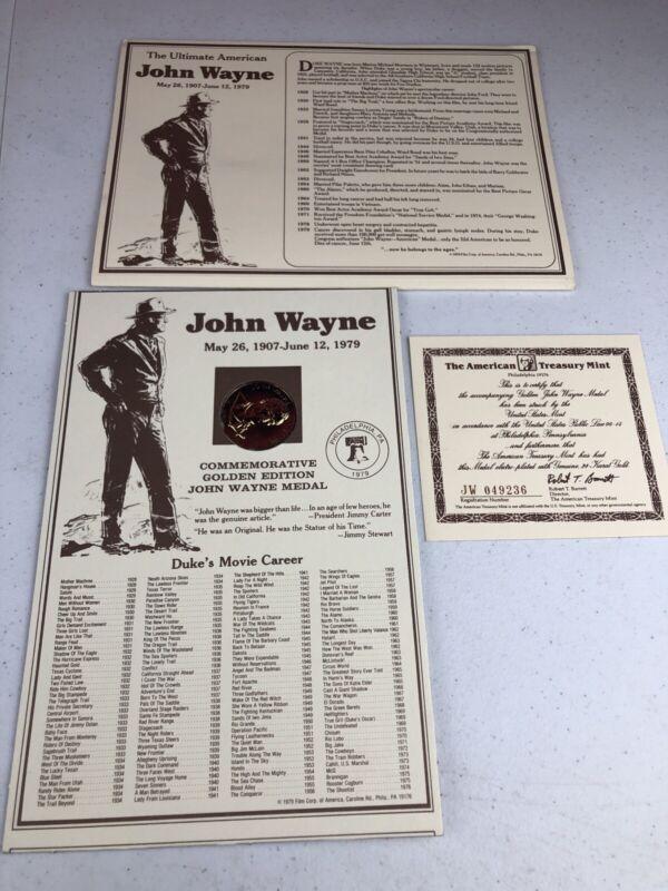 1979 American Treasury Mint John Wayne Western Commemorative Gold Medal Coin