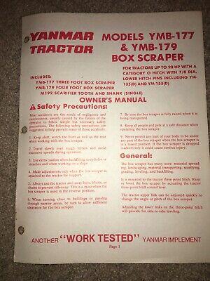 Yanmar Models Ymb-177 Ymb-179 Box Scraper Owners Manual Tractor Box Blade