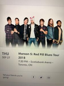 Maroon 5  two tickets  Sept 27th