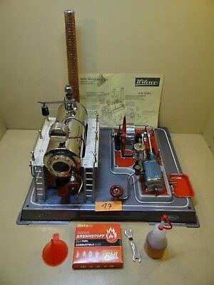 Dampfmaschine Wilesco D20 mit Zubehör / 60er Jahre / Graue Grundplatte / Selten.