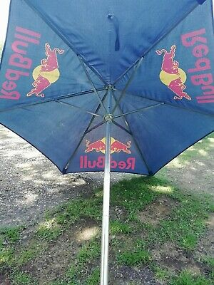 Huge Heavy Weight Genuine Garden Pub Umbrella Red Bull 2.7 Metre Diameter Chrome, used for sale  Biggleswade
