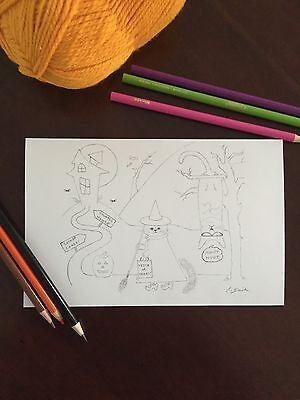 Drawings Halloween (Halloween Coloring Card Drawing Art Greeting Card Blank Note Card Halloween)