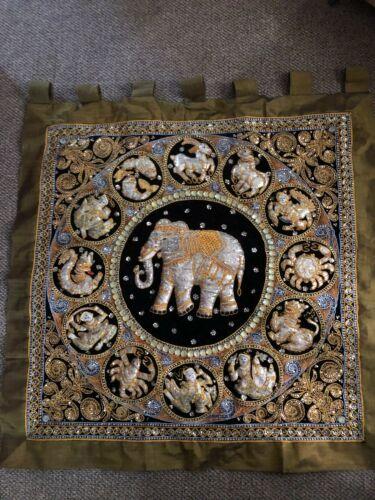 Kalaga Embellished Embroidered Wall Hanging Zodiac Elephant Eastern Astrology