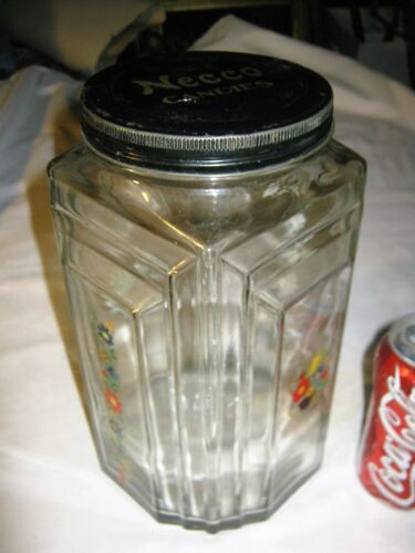 LG. ANTIQUE USA ART DECO COUNTRY PRIMITIVE HOOSIER NECCO CANDY GLASS JAR BOTTLE