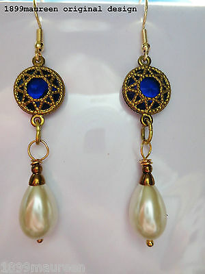 Art Nouveau Art Deco earrings Tudor Renaissance vintage style Elizabethan pearl