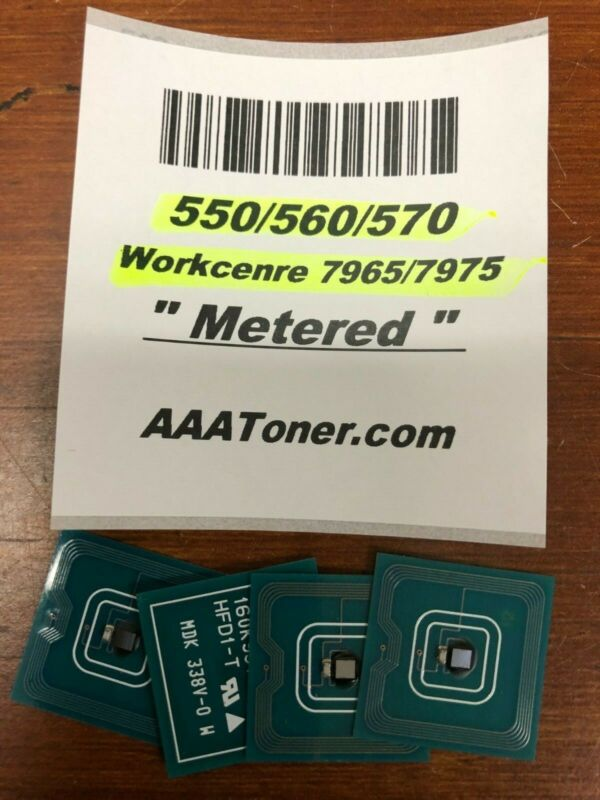 4 x Toner Chip (1521 - METERED) for Xerox 550, 560, 570 WC 7965, 7975 Refill
