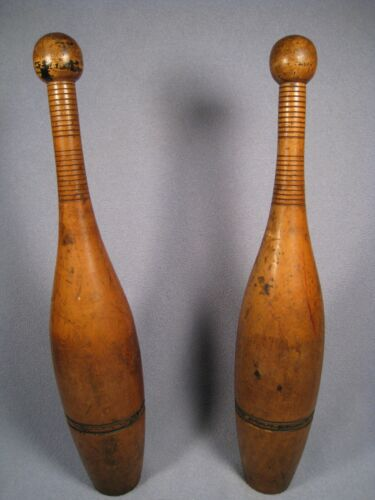 Pair of Vintage 14.5 Inch Wooden Indian Club/Juggling Pins # 11B