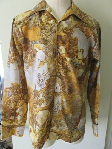 Vtg 70s Spire California Silky Mod Disco Hippy Shirt Medieval Renaissance sz L