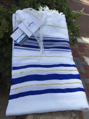 "Kosher Tallit Talis Prayer Shawl acrylic 24""X72"" Made in Israel Blue and Gold"