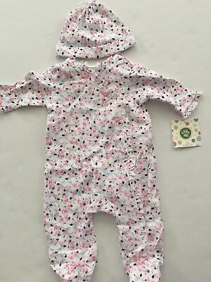 Little Me Baby Girls Coverall Hat Outfit Size 3 6 9 Months Pink Navy Blue Floral