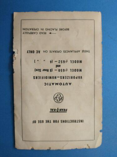 Old Prak-T-kal Instruction Manual, Automatic Vaporizers # 650 & 652  Practical