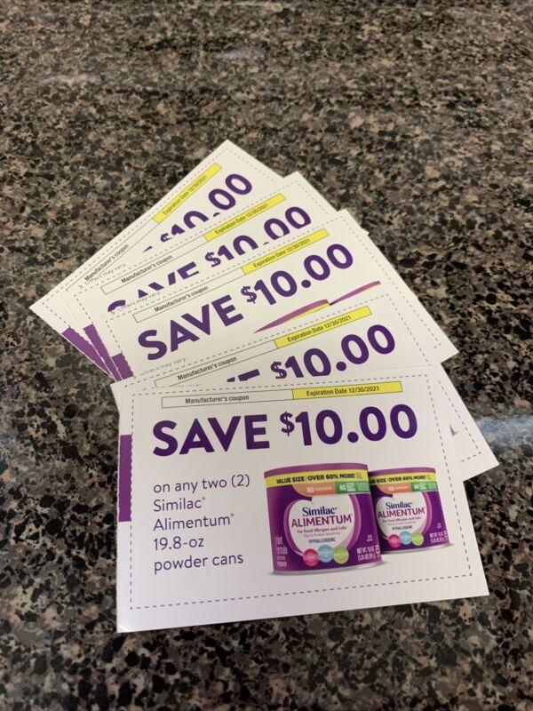 $50 ($10 x 5) Similac Alimentum Infant Formula Coupons  - Expires 12/30/2021