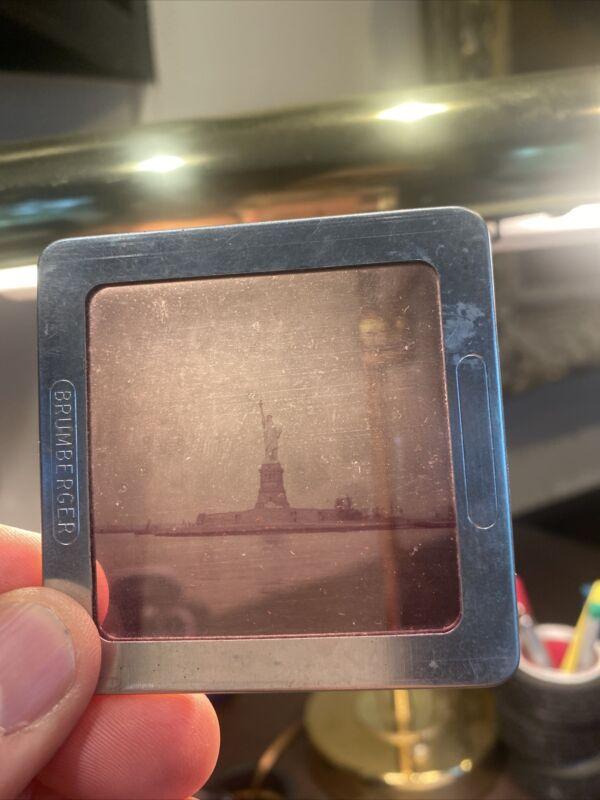 Vintage Brumberger Metal Slide Binder Statue Of Liberty
