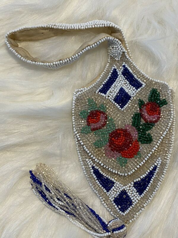 NATIVE AMERICAN INDIAN BEADED MIRROR BAG Pouch Purse Roses Tassel Tribe