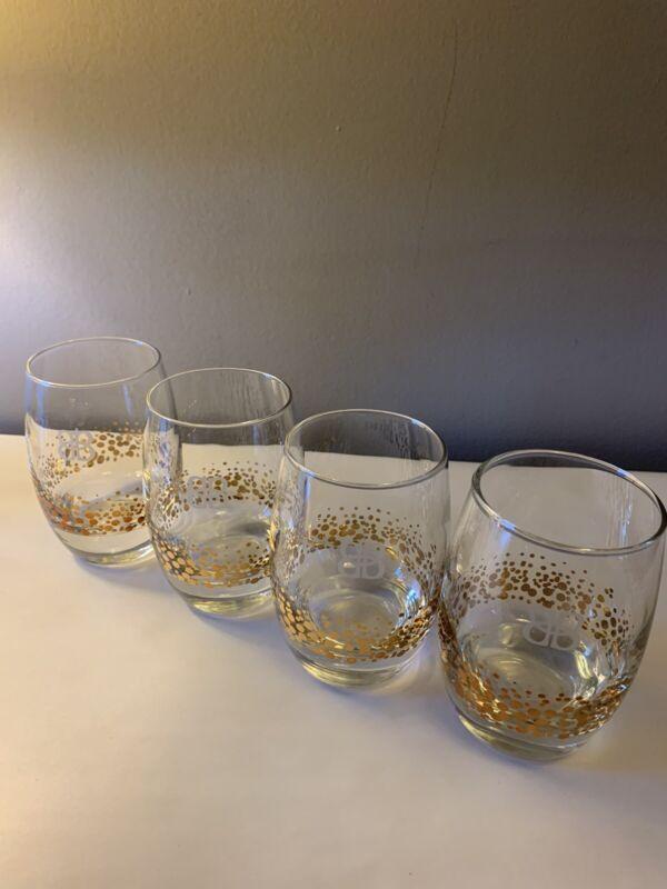 "4 Vtg Baileys BB Irish Cream Glass Low Ball Heavy 4.5"" Gold Confetti Dots EUC"