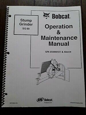 Bobcat Stump Grinder Sg30 Operation Maintenance Manual