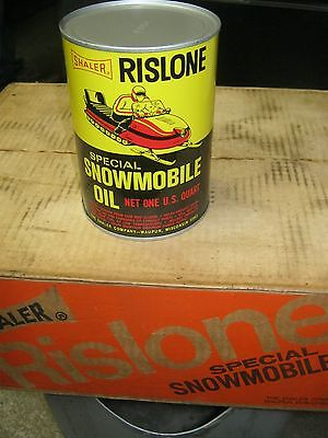 NEAR MINT NOS FULL VINTAGE RISLONE SNOWMOBILE OIL OLD 1965 1QT METAL CAN SHALER