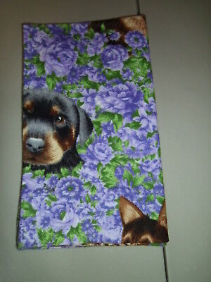 "1-Dogs in Lilac Flowers Travel Size Pillow Pillowcase  12 x 20""  New & Handmade!"