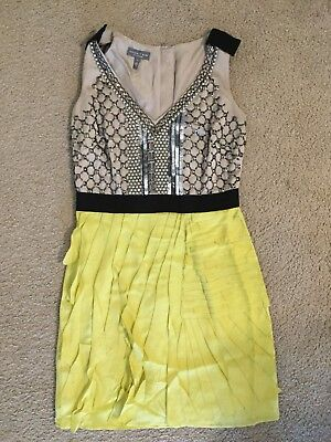 Authentic Sachin + Babi Taupe Yellow Mini Sequin Sleeveless Dress (Size 4) !! for sale  Painted Post