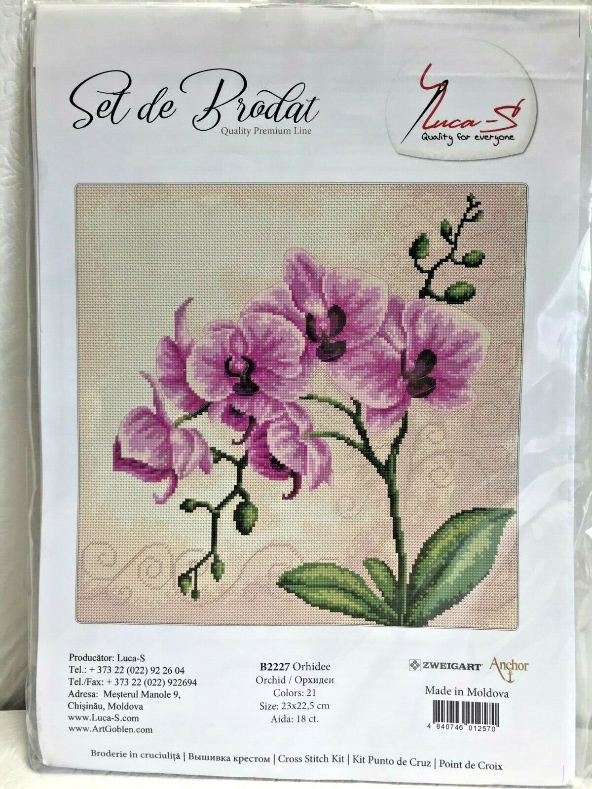 NEW Luca-S ORCHID Flower Counted Cross Stitch Kit B2227