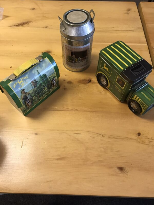 Lot of John Deere Tin Mini Lunch Box, Milk Can , and Truck Preowned