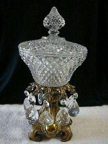 """Vtg 12"""" Crystal Compote Lid Fruit Bowl Pedestal Brass Base 10 Tear Drop Prisms"""