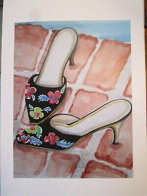 'Black Velvet Slippers at Poolside' High Heels/Shoes, home decor,Art Print ](Poolside Decorations)