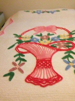 Vintage White Chenille Cotton Bedspread-Pink Flowers in Basket Design-Full Size