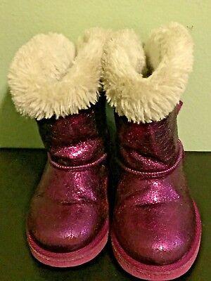 Sparkle Mädchen Glänzend Pink Kunstpelz Futter Winterstiefel Größe 7 Kleinkind