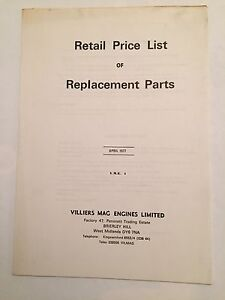 VILLIERS Mag Engines Retail Price List Of Replacement Parts April 1977 V.M.E. 1