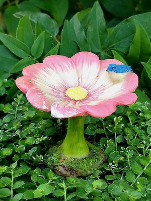 Miniature Dollhouse FAIRY GARDEN ~ Pink Flower Petal Bird Bath Pick ~ NEW