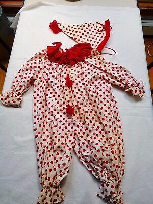 1950s-60s Vintage Childs. IT CLOWN SUIT  girl  boy Clown  Costume Halloween