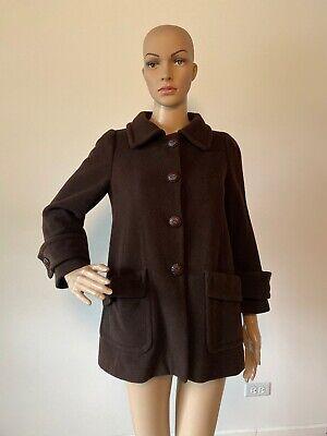 Zara Basic Dark Brown Wool Blend Coat Jacket Button Down A-Line Shape Size XS