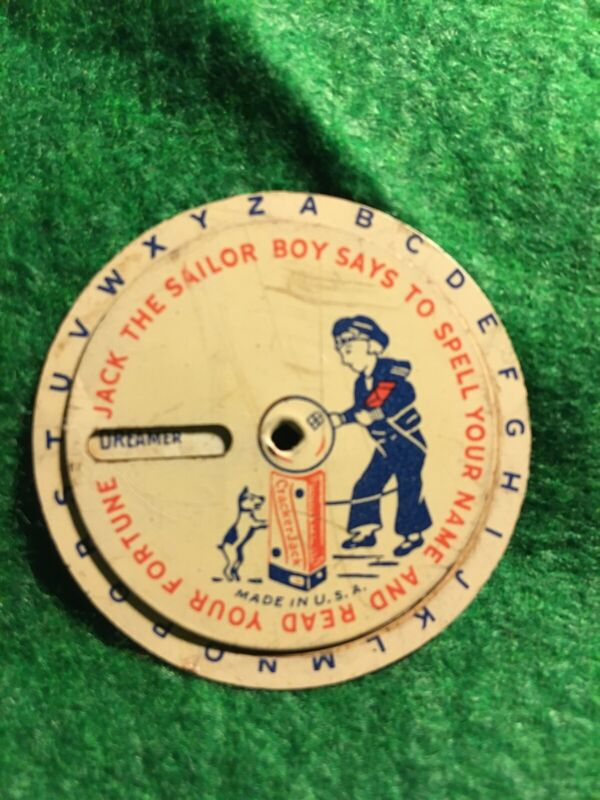 VINTAGE ADVERTISING CRACKER JACK TOY JACK THE SAILOR BOY SAYS SPELL YOUR NAME!