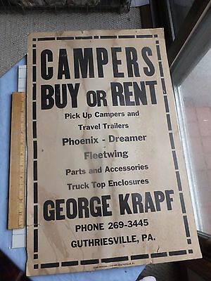 1960S 70S Campers Buy Or Rent Advertising Poster  Guthriesville  Pennsylvania