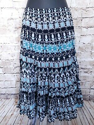 JM Collection Petite A Line Midi Skirt Womens Medium Lined Geometric Black $49