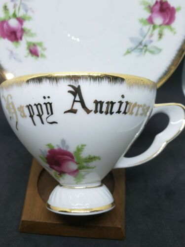 Antique NORCREST HAPPY ANNIVERSARY TEACUP AND SAUCER SET JAPAN Pink Roses - $5.00